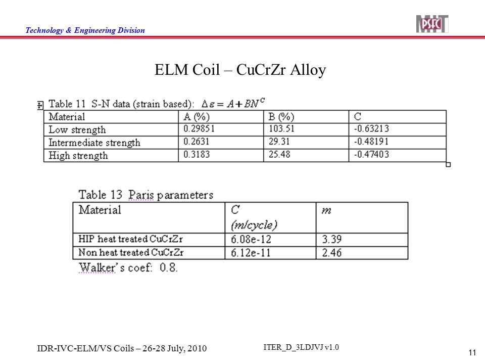 Technology & Engineering Division 11 IDR-IVC-ELM/VS Coils – 26-28 July, 2010 ITER_D_3LDJVJ v1.0 ELM Coil – CuCrZr Alloy