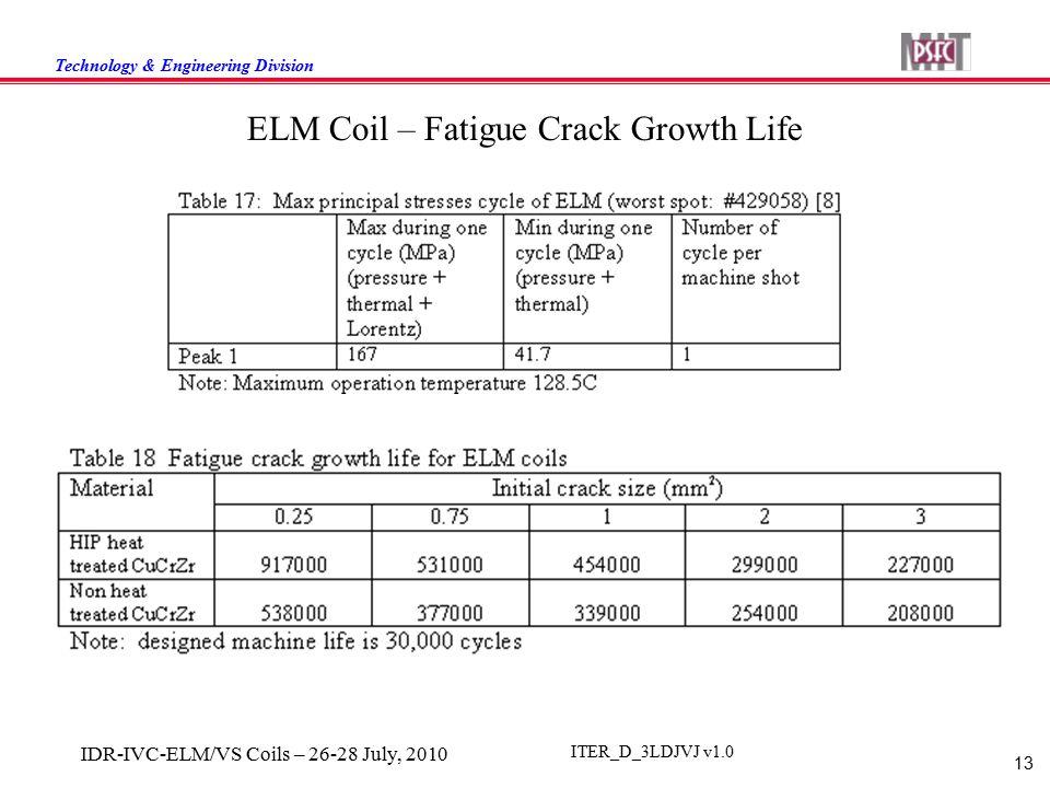 Technology & Engineering Division 13 IDR-IVC-ELM/VS Coils – 26-28 July, 2010 ITER_D_3LDJVJ v1.0 ELM Coil – Fatigue Crack Growth Life