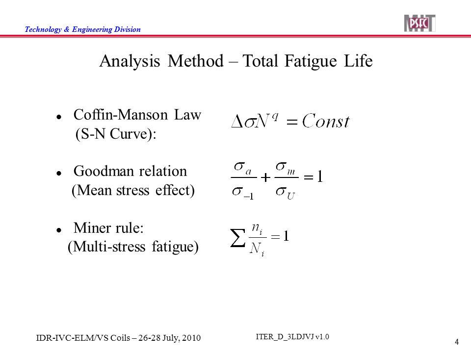Technology & Engineering Division 4 IDR-IVC-ELM/VS Coils – 26-28 July, 2010 ITER_D_3LDJVJ v1.0 Analysis Method – Total Fatigue Life Coffin-Manson Law