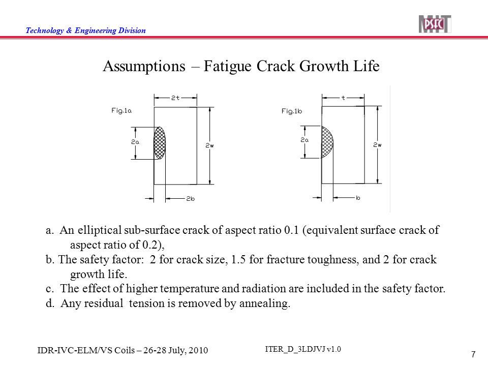 Technology & Engineering Division 7 IDR-IVC-ELM/VS Coils – 26-28 July, 2010 ITER_D_3LDJVJ v1.0 Assumptions – Fatigue Crack Growth Life a. An elliptica