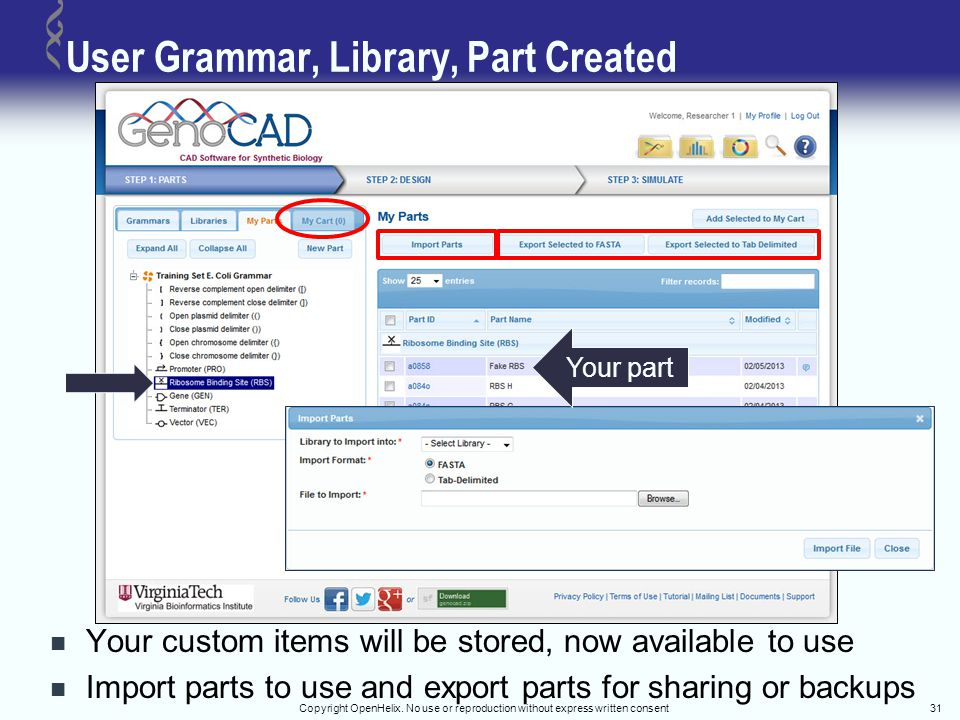 User Grammar, Library, Part Created Your custom items will be stored, now available to use Import parts to use and export parts for sharing or backups