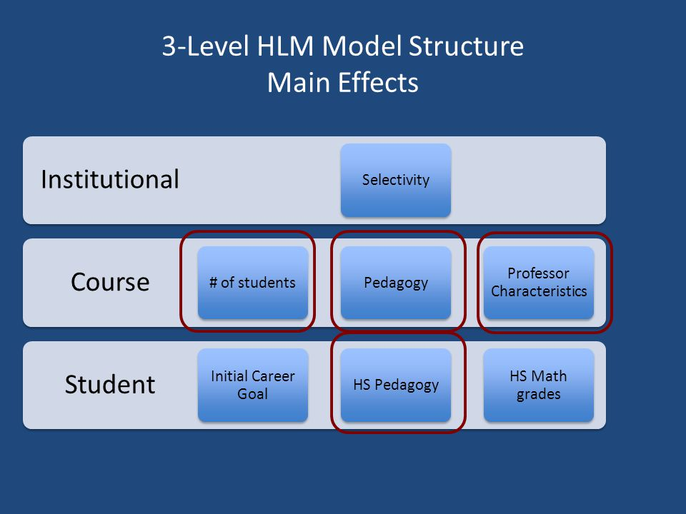 3-Level HLM Model Structure Main Effects Student Course Institutional Selectivity# of students Initial Career Goal PedagogyHS Pedagogy Professor Characteristics HS Math grades