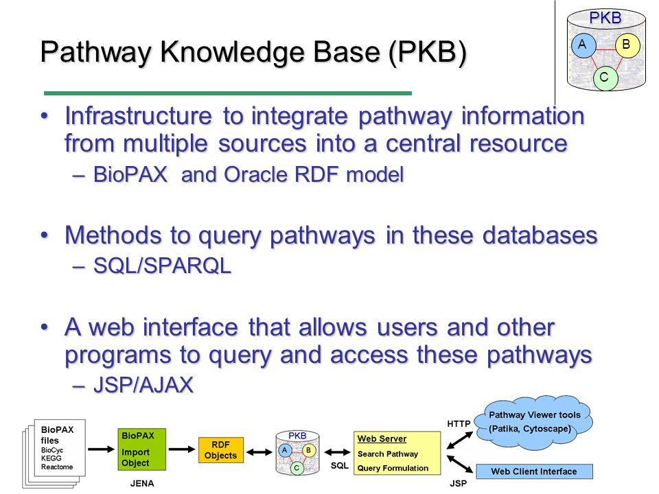 PKB C BA Pathway Knowledge Base (PKB) Infrastructure to integrate pathway information from multiple sources into a central resourceInfrastructure to integrate pathway information from multiple sources into a central resource –BioPAX and Oracle RDF model Methods to query pathways in these databasesMethods to query pathways in these databases –SQL/SPARQL A web interface that allows users and other programs to query and access these pathwaysA web interface that allows users and other programs to query and access these pathways –JSP/AJAX