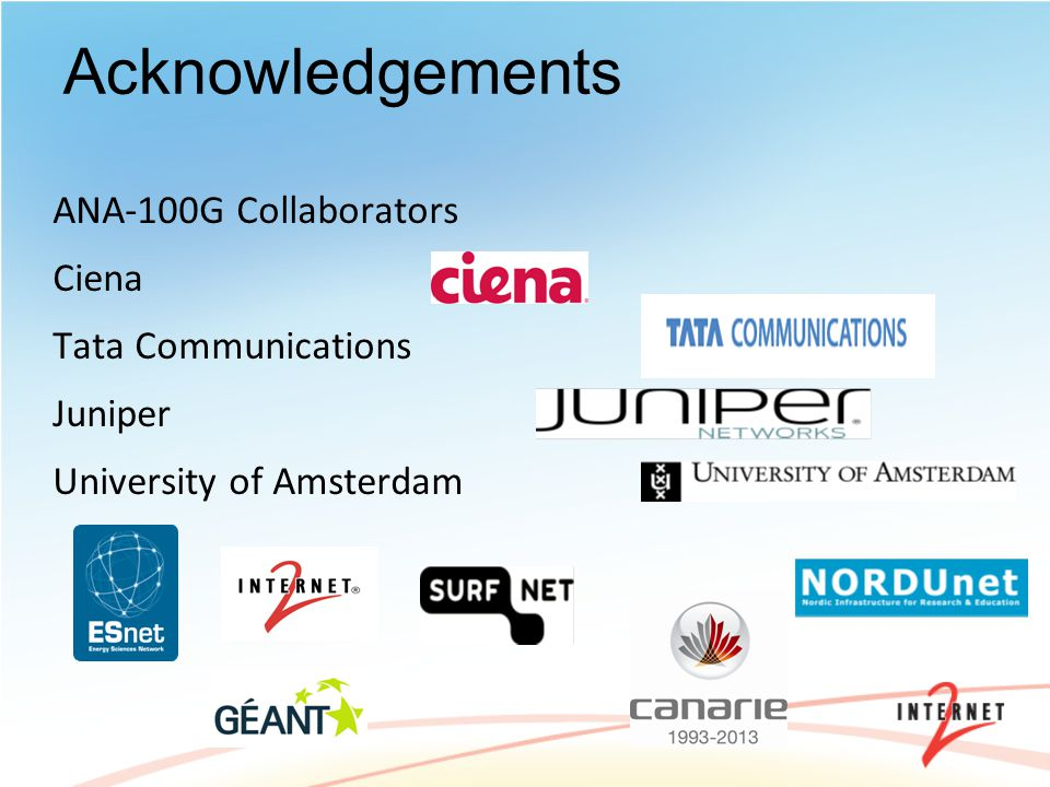 Acknowledgements ANA-100G Collaborators Ciena Tata Communications Juniper University of Amsterdam