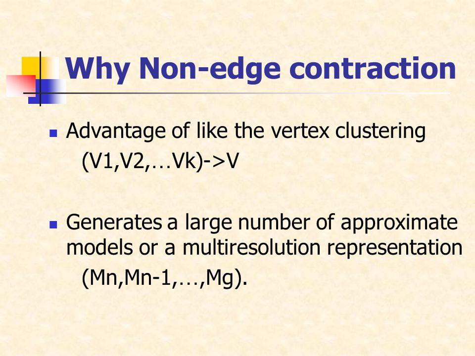 Advantage of like the vertex clustering (V1,V2, … Vk)->V Generates a large number of approximate models or a multiresolution representation (Mn,Mn-1, …,Mg).