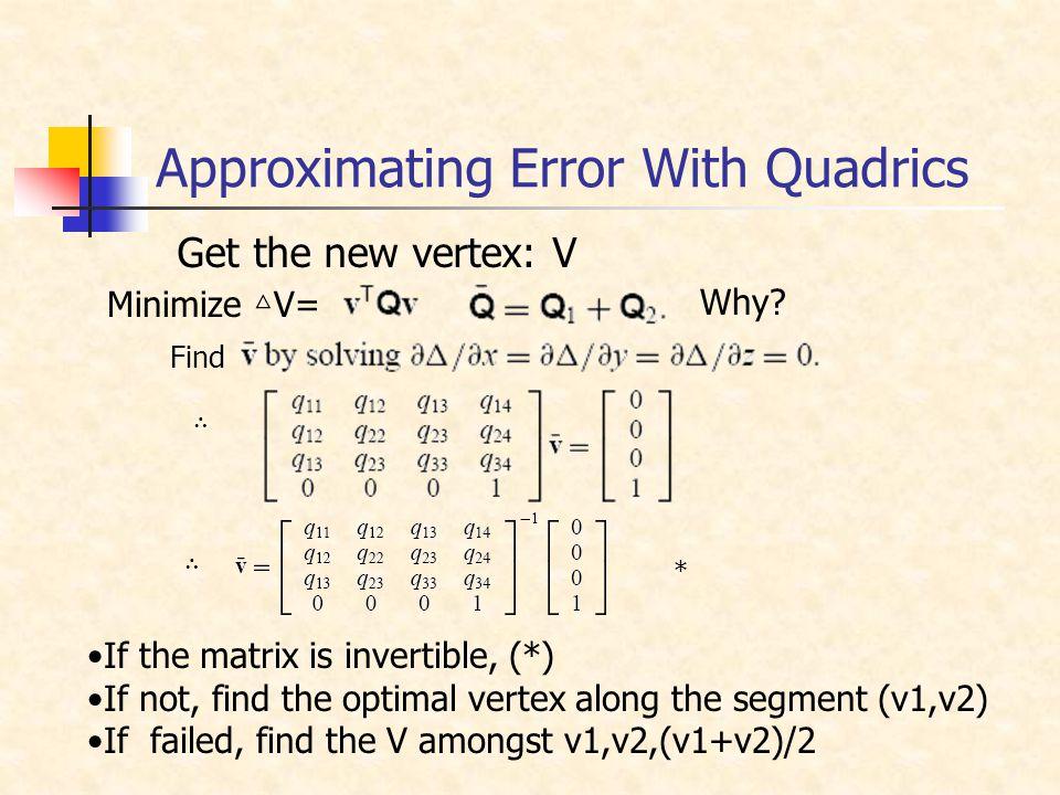 Get the new vertex: V Minimize △ V= Why.