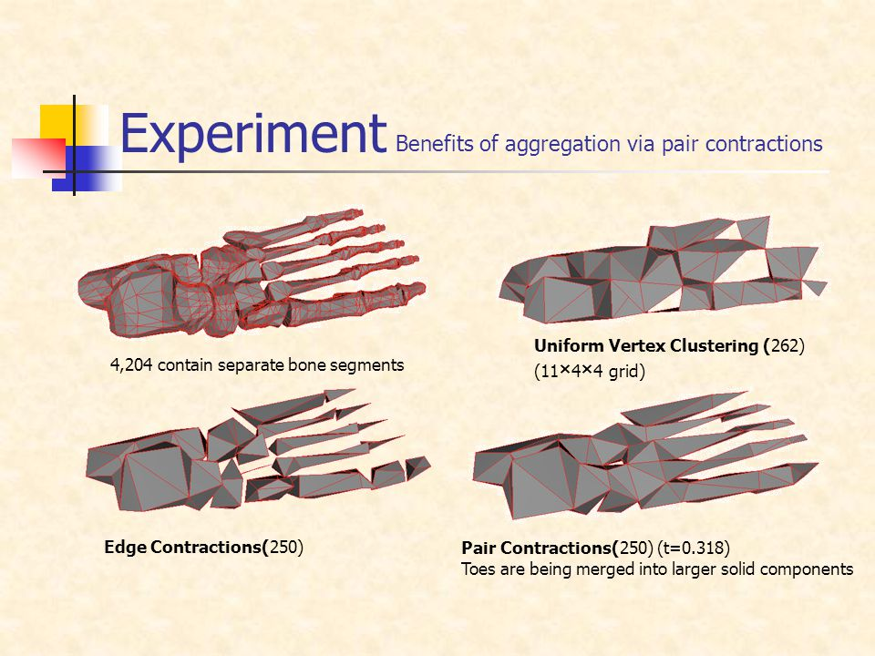 Experiment Benefits of aggregation via pair contractions 4,204 contain separate bone segments Uniform Vertex Clustering (262) (11 × 4 × 4 grid) Edge Contractions(250) Pair Contractions(250) (t=0.318) Toes are being merged into larger solid components