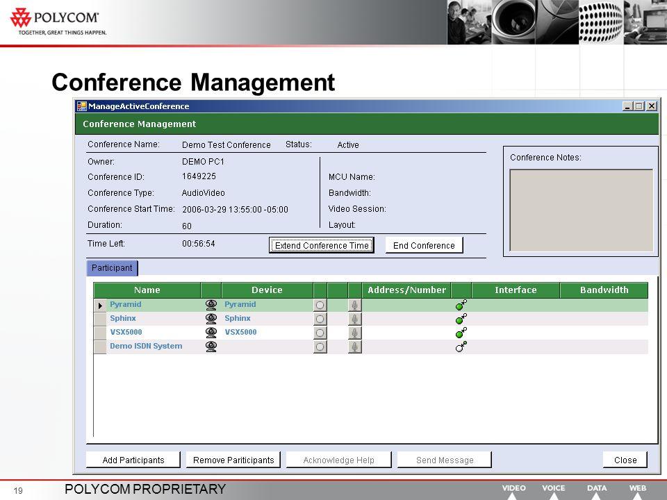 POLYCOM PROPRIETARY 19 Conference Management