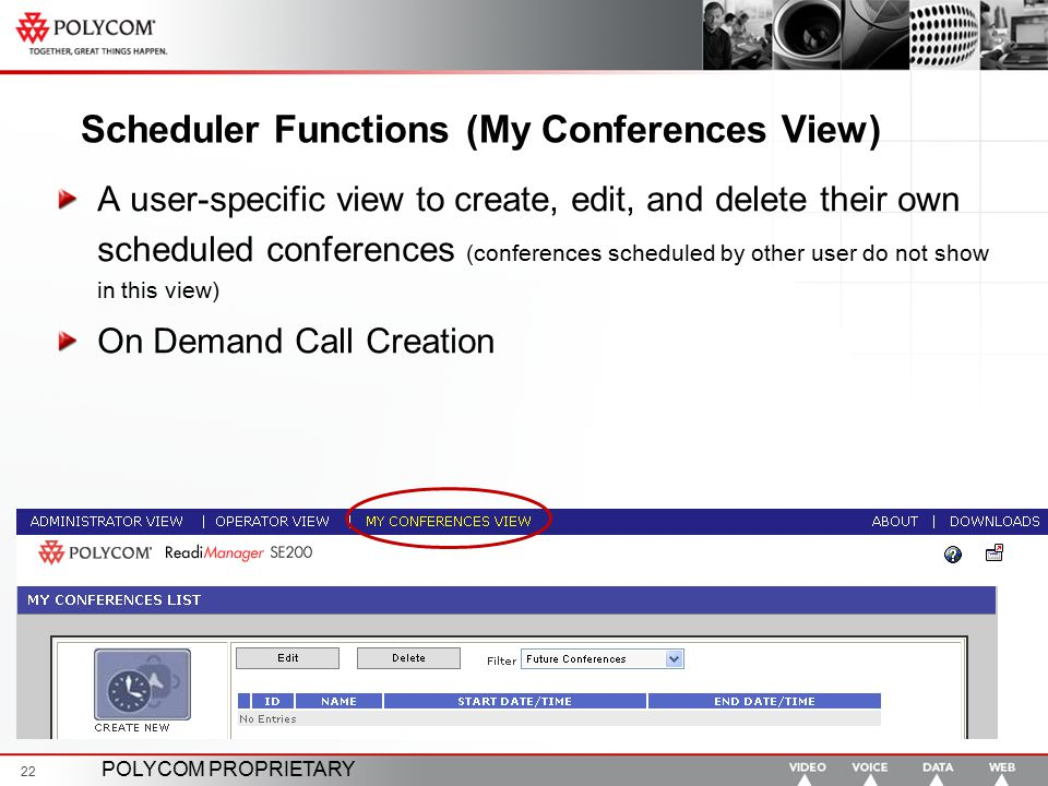 POLYCOM PROPRIETARY 22 Scheduler Functions (My Conferences View) A user-specific view to create, edit, and delete their own scheduled conferences (con