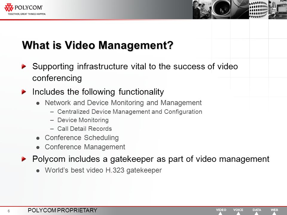 POLYCOM PROPRIETARY 6 What is Video Management? Supporting infrastructure vital to the success of video conferencing Includes the following functional
