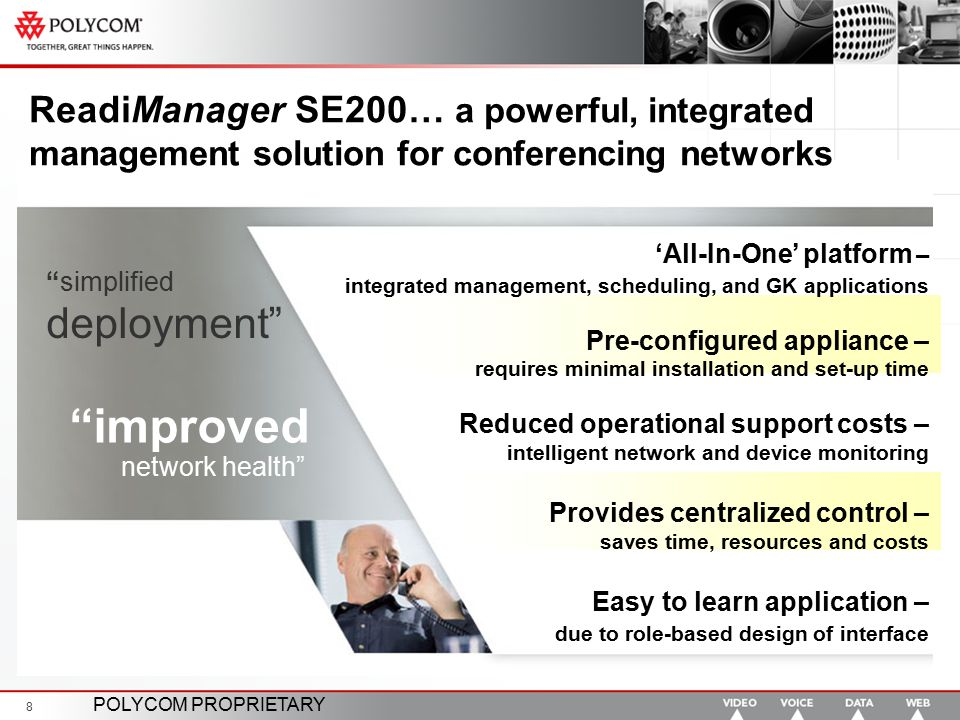 """POLYCOM PROPRIETARY 8 ReadiManager SE200… a powerful, integrated management solution for conferencing networks """"improved network health"""" """"simplified d"""