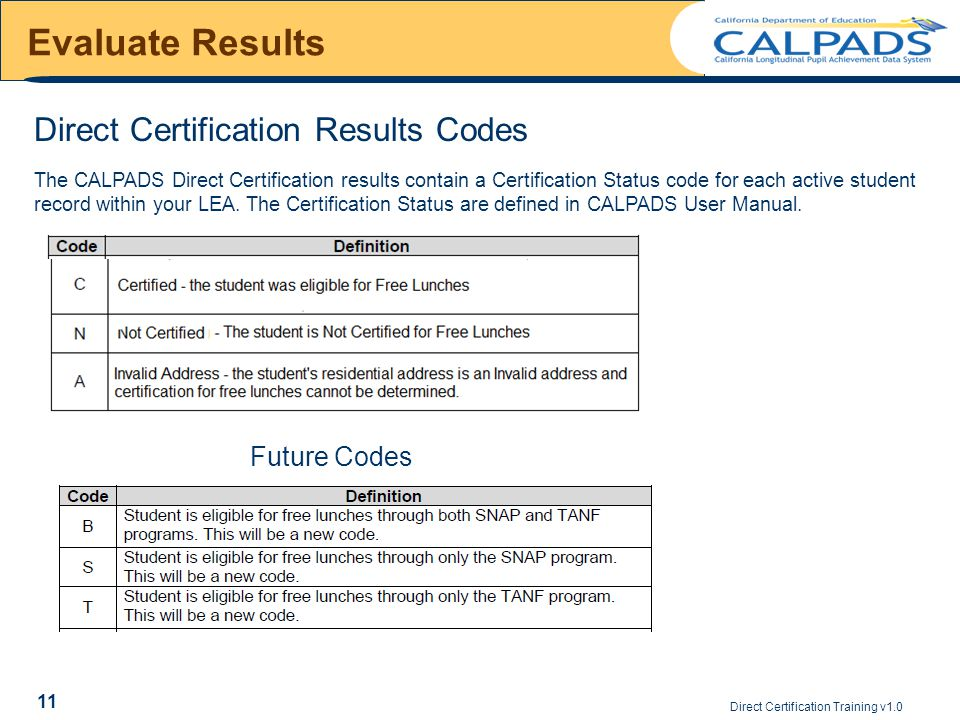 Direct Certification Training v1.0 11 Evaluate Results The CALPADS Direct Certification results contain a Certification Status code for each active student record within your LEA.