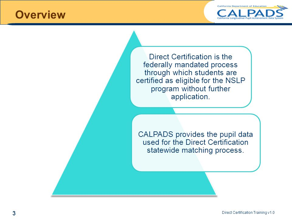 Direct Certification Training v1.0 4 Overview The CALPADS Direct Certification matching process *The direct certification status of a pupil is valid for one school year.