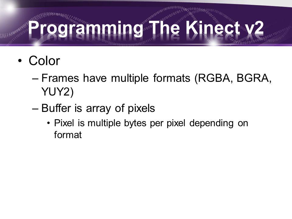 Color –Frames have multiple formats (RGBA, BGRA, YUY2) –Buffer is array of pixels Pixel is multiple bytes per pixel depending on format