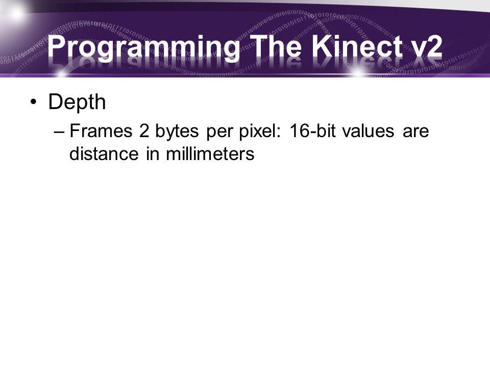 Depth –Frames 2 bytes per pixel: 16-bit values are distance in millimeters