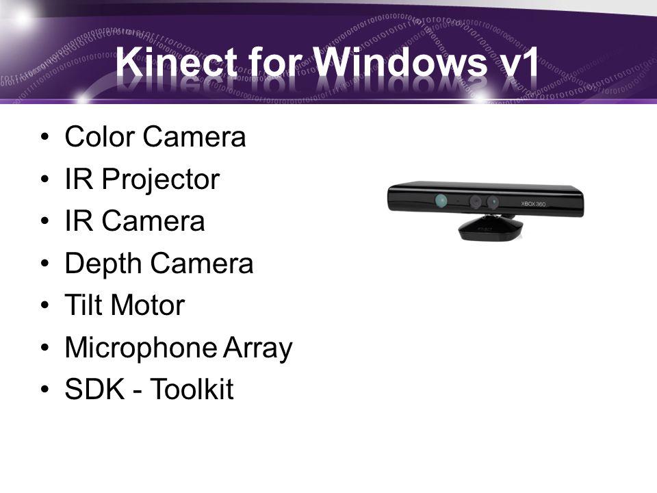 Color Camera IR Projector IR Camera Depth Camera Tilt Motor Microphone Array SDK - Toolkit