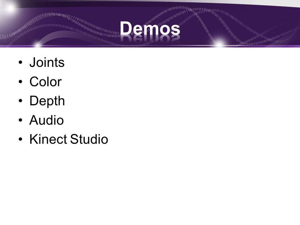 Joints Color Depth Audio Kinect Studio