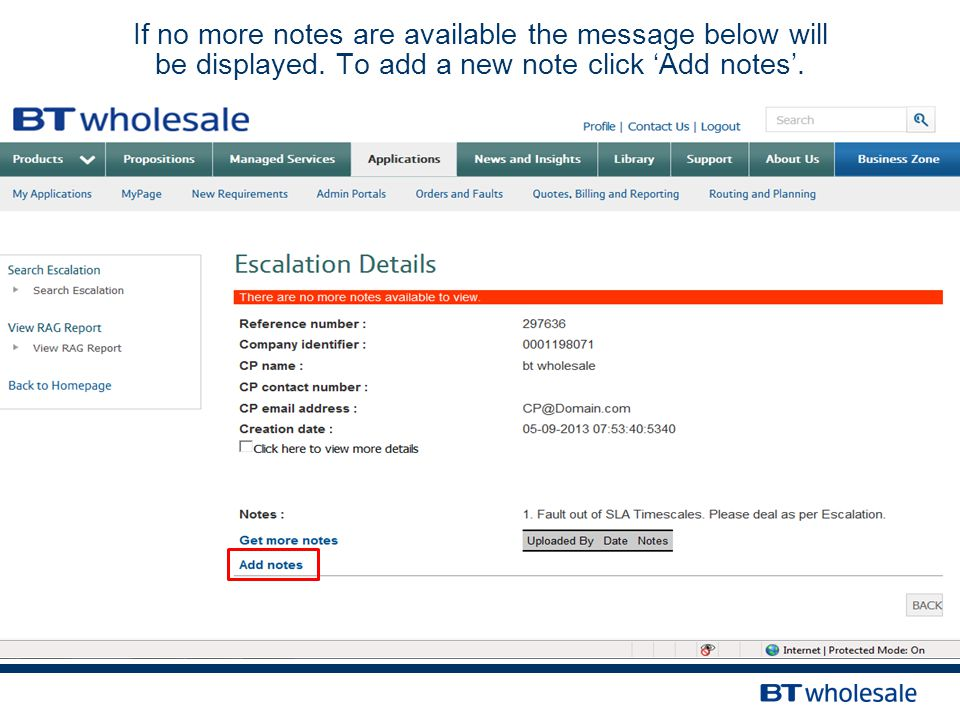 If no more notes are available the message below will be displayed. To add a new note click 'Add notes'.