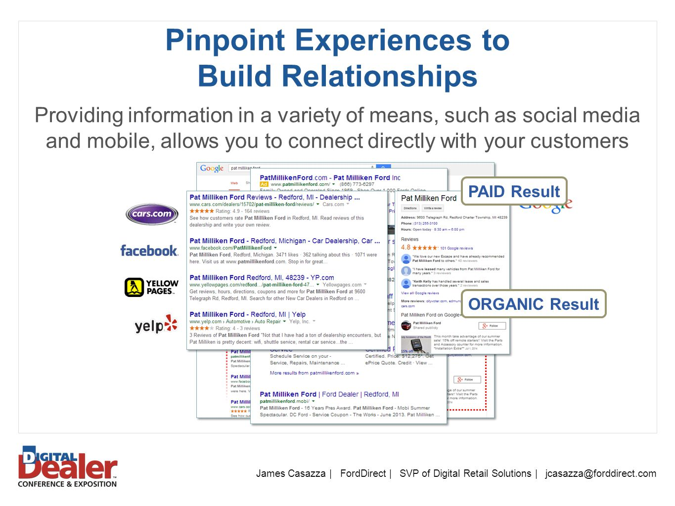 James Casazza | FordDirect | SVP of Digital Retail Solutions | jcasazza@forddirect.com Pinpoint Experiences to Build Relationships Providing information in a variety of means, such as social media and mobile, allows you to connect directly with your customers PAID Result ORGANIC Result