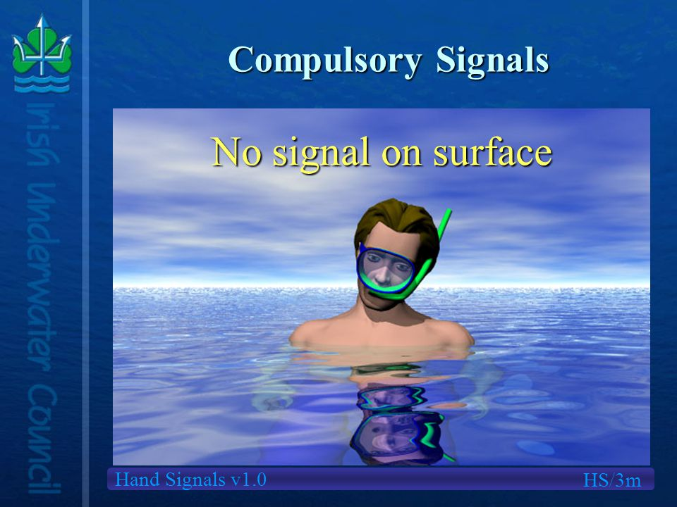 Hand Signals v1.0 Compulsory Signals HS/3m No signal on surface