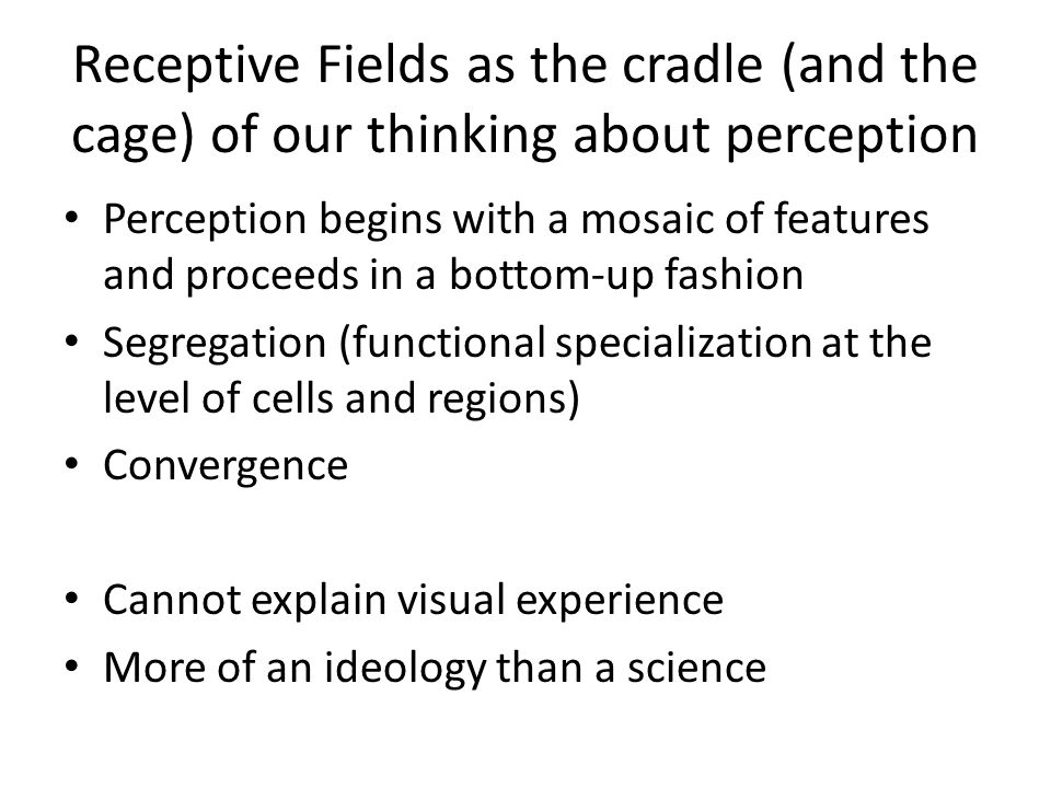 Receptive Fields as the cradle (and the cage) of our thinking about perception Perception begins with a mosaic of features and proceeds in a bottom-up
