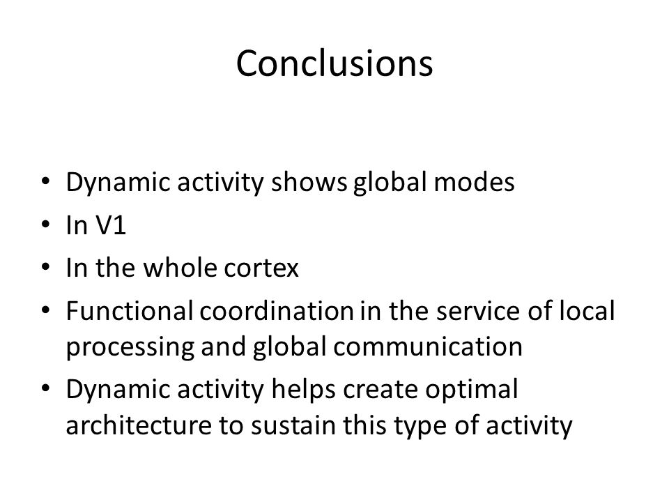 Conclusions Dynamic activity shows global modes In V1 In the whole cortex Functional coordination in the service of local processing and global communication Dynamic activity helps create optimal architecture to sustain this type of activity