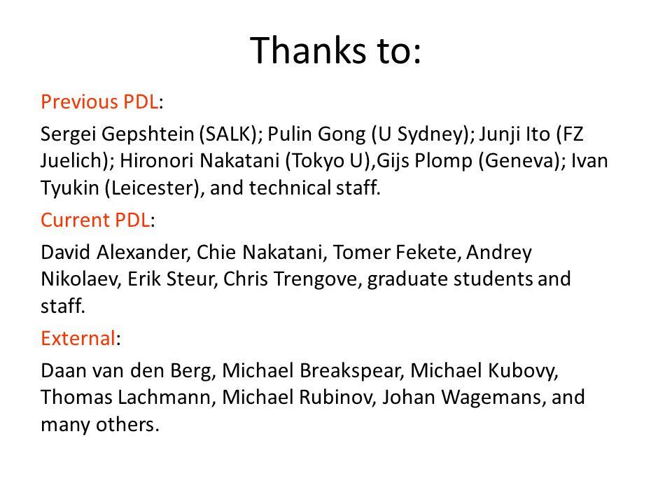 Thanks to: Previous PDL: Sergei Gepshtein (SALK); Pulin Gong (U Sydney); Junji Ito (FZ Juelich); Hironori Nakatani (Tokyo U),Gijs Plomp (Geneva); Ivan Tyukin (Leicester), and technical staff.