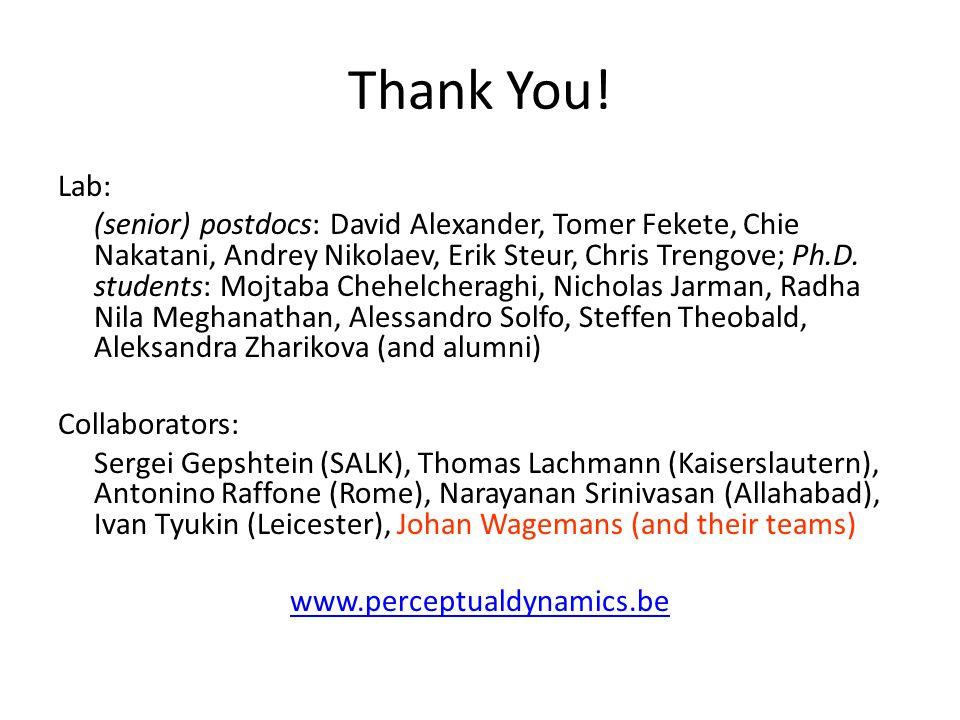Thank You! Lab: (senior) postdocs: David Alexander, Tomer Fekete, Chie Nakatani, Andrey Nikolaev, Erik Steur, Chris Trengove; Ph.D. students: Mojtaba