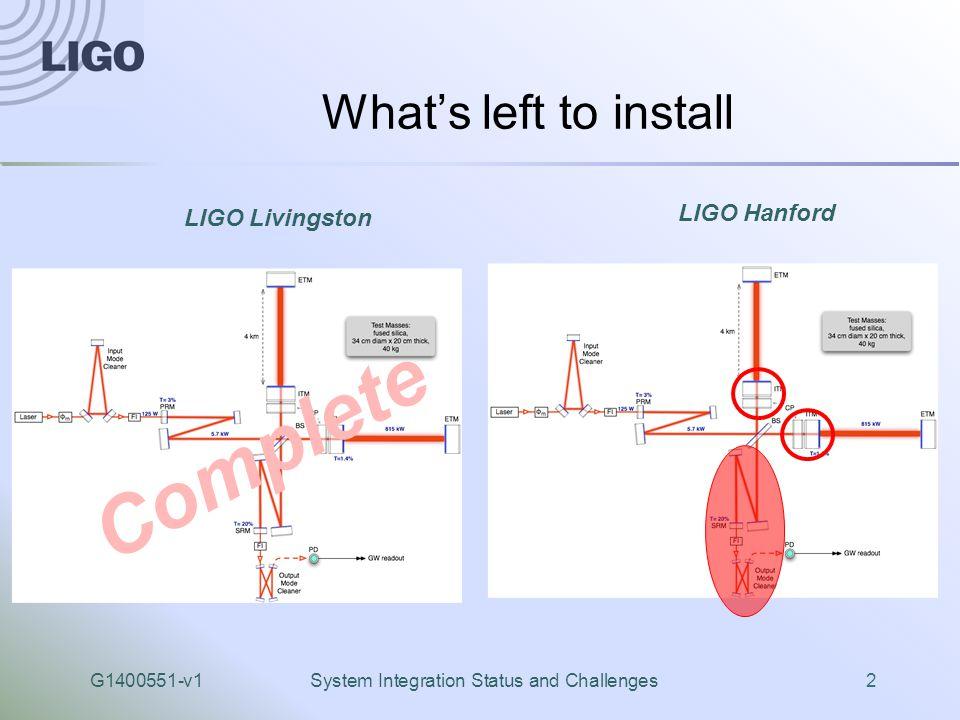 G1400551-v1System Integration Status and Challenges2 What's left to install LIGO Hanford LIGO Livingston Complete