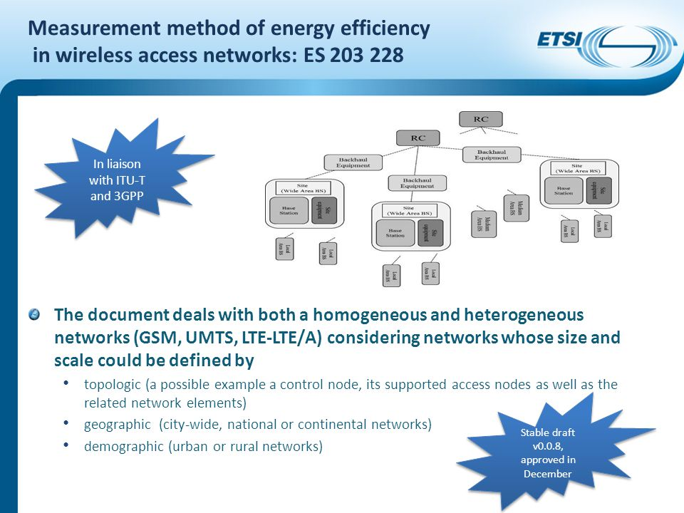 Measurement method of energy efficiency in wireless access networks: ES 203 228 The document deals with both a homogeneous and heterogeneous networks (GSM, UMTS, LTE-LTE/A) considering networks whose size and scale could be defined by topologic (a possible example a control node, its supported access nodes as well as the related network elements) geographic (city-wide, national or continental networks) demographic (urban or rural networks) In liaison with ITU-T and 3GPP Stable draft v0.0.8, approved in December