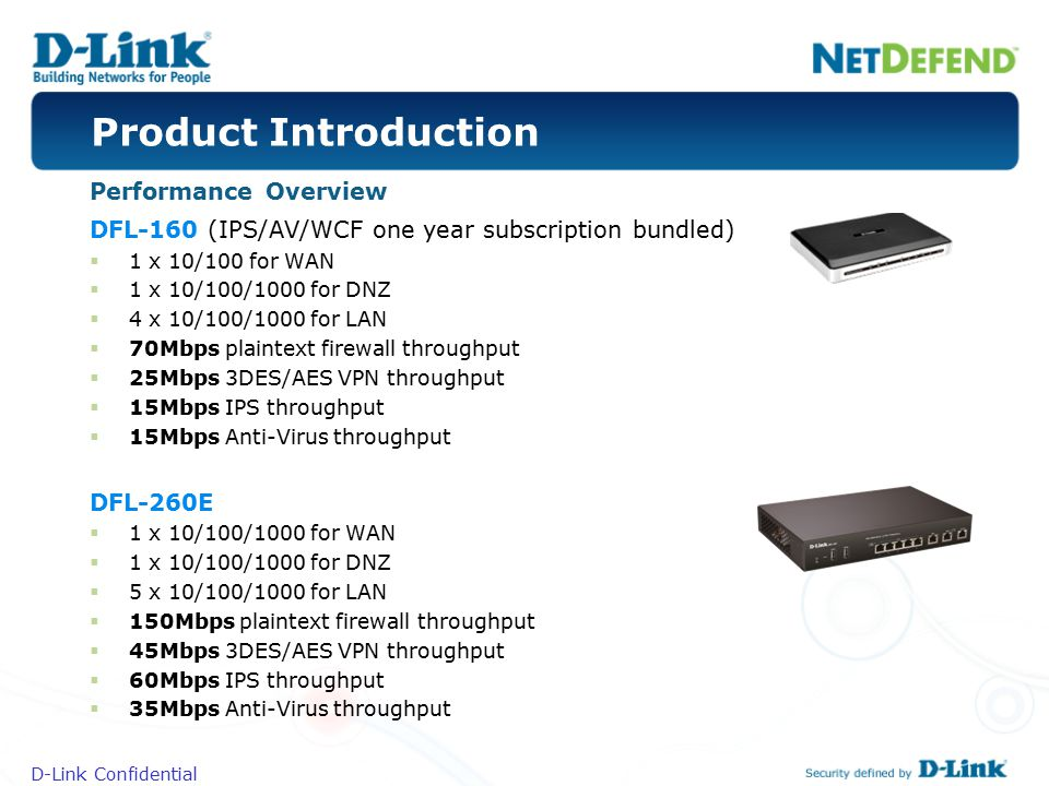 D-Link Confidential DFL-160 (IPS/AV/WCF one year subscription bundled)  1 x 10/100 for WAN  1 x 10/100/1000 for DNZ  4 x 10/100/1000 for LAN  70Mb