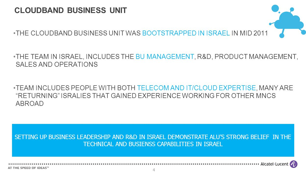4 THE CLOUDBAND BUSINESS UNIT WAS BOOTSTRAPPED IN ISRAEL IN MID 2011 THE TEAM IN ISRAEL, INCLUDES THE BU MANAGEMENT, R&D, PRODUCT MANAGEMENT, SALES AND OPERATIONS TEAM INCLUDES PEOPLE WITH BOTH TELECOM AND IT/CLOUD EXPERTISE, MANY ARE RETURNING ISRALIES THAT GAINED EXPERIENCE WORKING FOR OTHER MNCS ABROAD CLOUDBAND BUSINESS UNIT SETTING UP BUSINESS LEADERSHIP AND R&D IN ISRAEL DEMONSTRATE ALU'S STRONG BELIEF IN THE TECHNICAL AND BUSIENSS CAPABILITIES IN ISRAEL