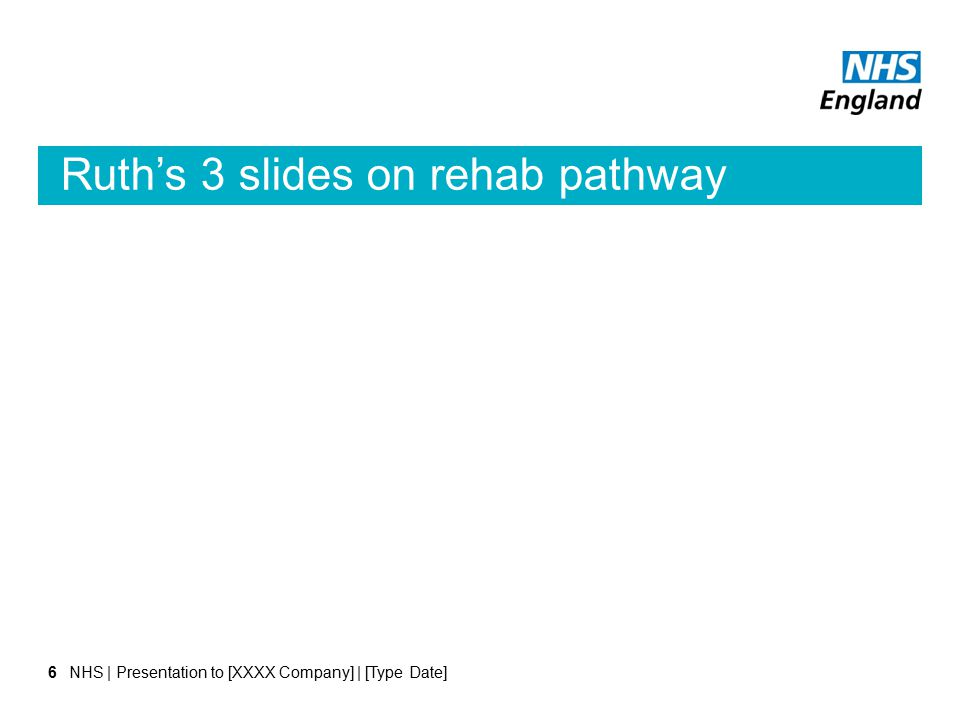 Ruth's 3 slides on rehab pathway NHS | Presentation to [XXXX Company] | [Type Date]6