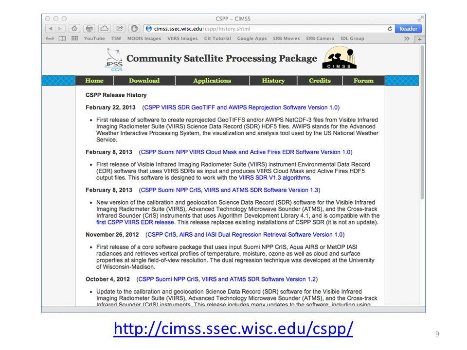 CSPP Website http://cimss.ssec.wisc.edu/cspp/ 9