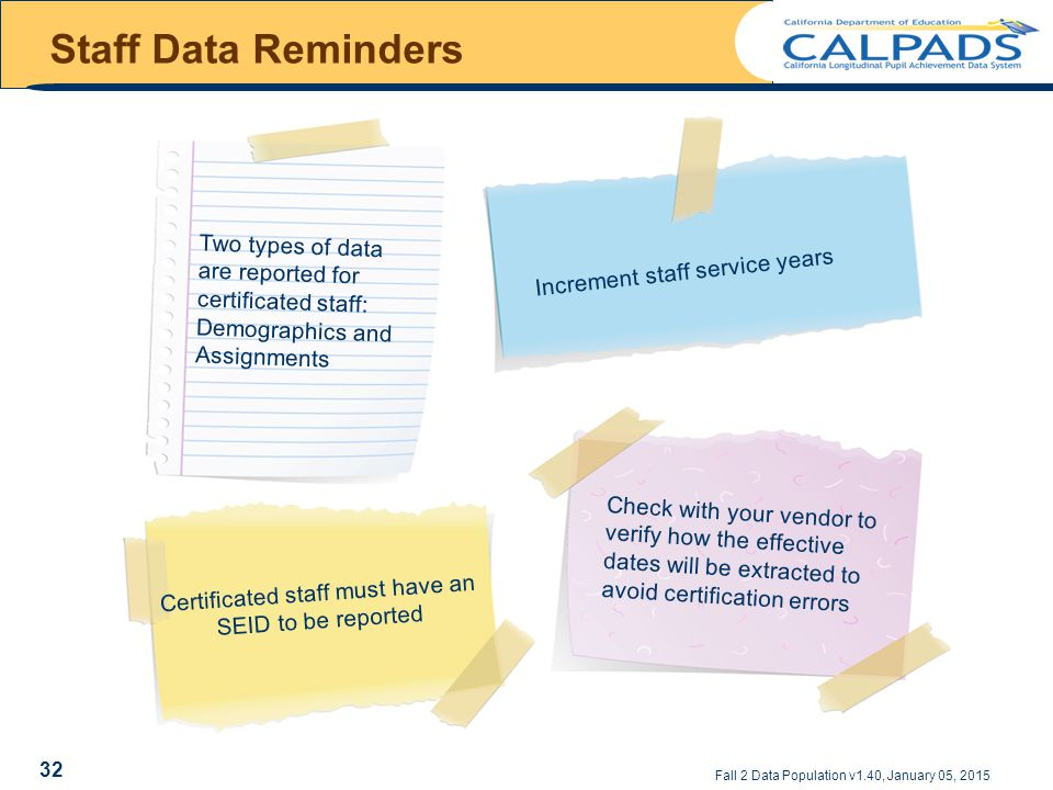 Staff Data Reminders Fall 2 Data Population v1.40, January 05, 2015 Two types of data are reported for certificated staff: Demographics and Assignments Increment staff service years Certificated staff must have an SEID to be reported Check with your vendor to verify how the effective dates will be extracted to avoid certification errors 32
