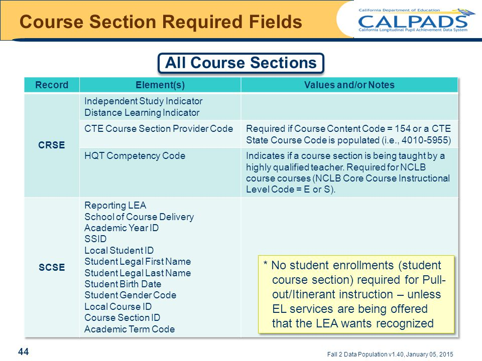 Course Section Required Fields Fall 2 Data Population v1.40, January 05, 2015 All Course Sections * No student enrollments (student course section) required for Pull- out/Itinerant instruction – unless EL services are being offered that the LEA wants recognized 44