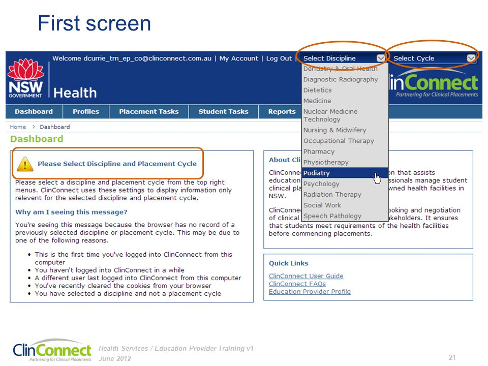 First screen June 2012 21 Health Services / Education Provider Training v1