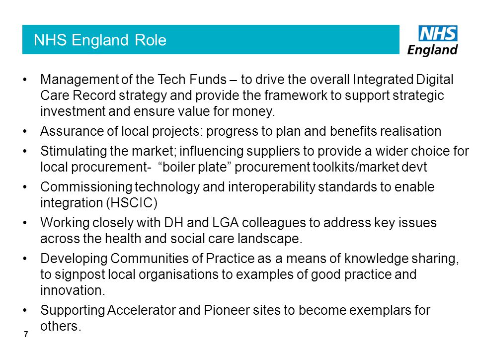 Technology Funds – targeting strategic investment 8 Open to NHS organisations only.