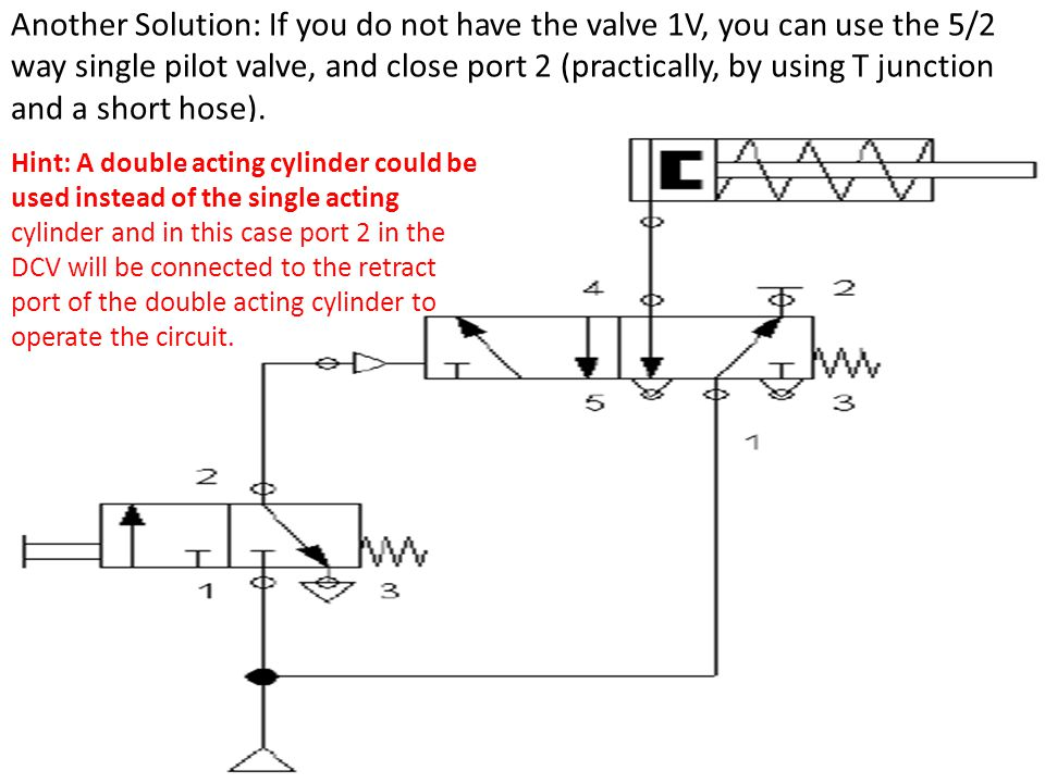 Another Solution: If you do not have the valve 1V, you can use the 5/2 way single pilot valve, and close port 2 (practically, by using T junction and