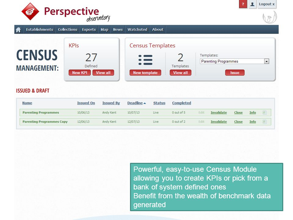 Powerful, easy-to-use Census Module allowing you to create KPIs or pick from a bank of system defined ones Benefit from the wealth of benchmark data g