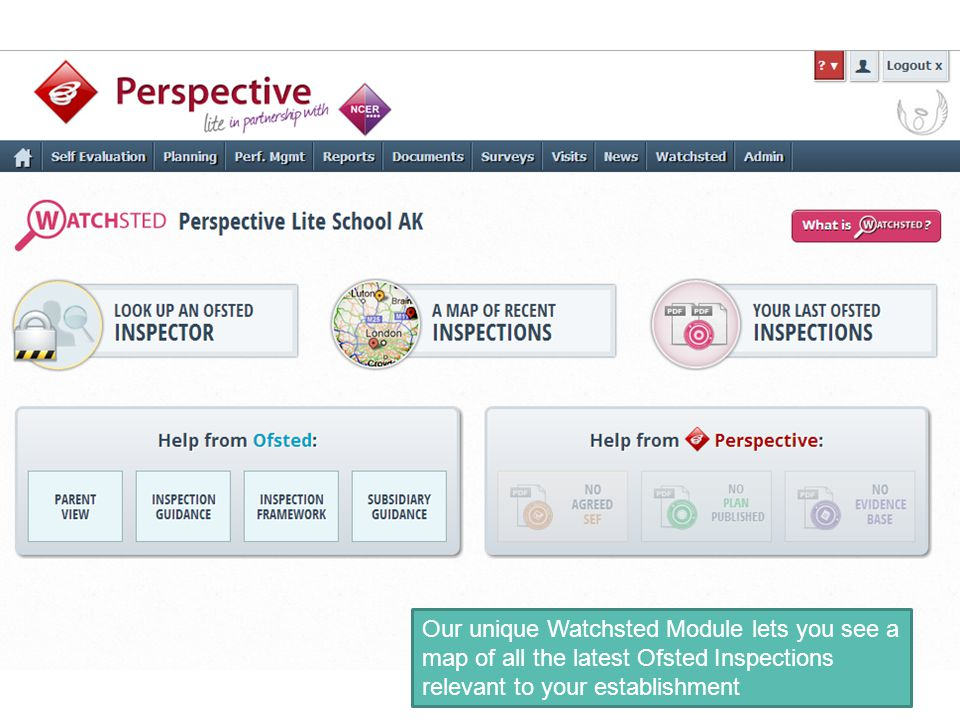 Our unique Watchsted Module lets you see a map of all the latest Ofsted Inspections relevant to your establishment