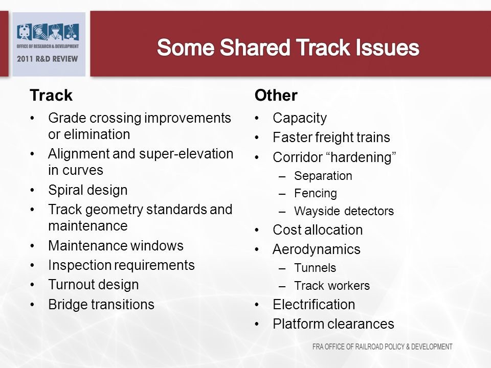 Track Grade crossing improvements or elimination Alignment and super-elevation in curves Spiral design Track geometry standards and maintenance Mainte