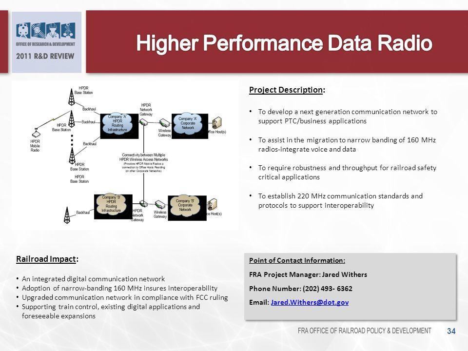 34 Railroad Impact: An integrated digital communication network Adoption of narrow-banding 160 MHz insures interoperability Upgraded communication net