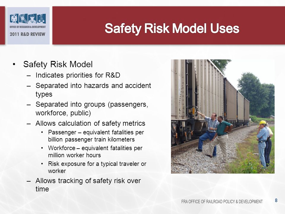 Safety Risk Model –Indicates priorities for R&D –Separated into hazards and accident types –Separated into groups (passengers, workforce, public) –All