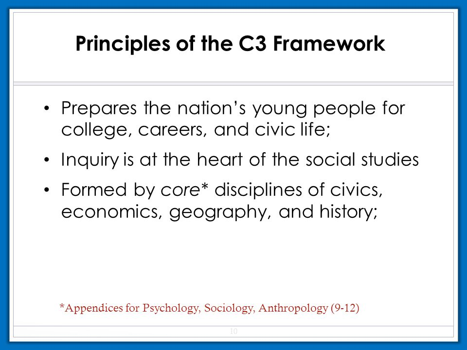Prepares the nation's young people for college, careers, and civic life; Inquiry is at the heart of the social studies Formed by core* disciplines of