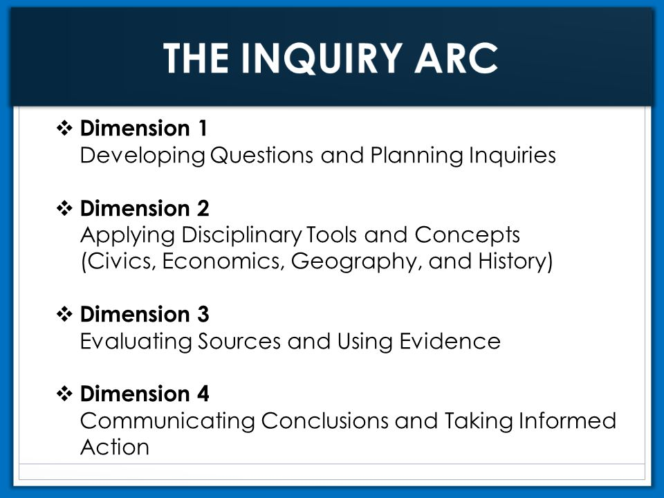  Dimension 1 Developing Questions and Planning Inquiries  Dimension 2 Applying Disciplinary Tools and Concepts (Civics, Economics, Geography, and Hi