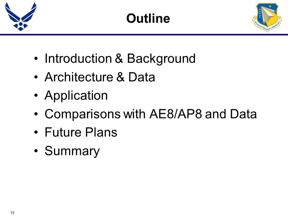 15 Outline Introduction & Background Architecture & Data Application Comparisons with AE8/AP8 and Data Future Plans Summary