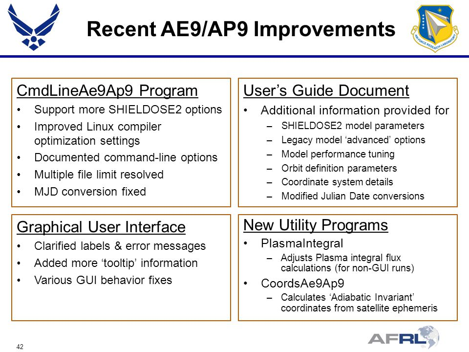 42 Recent AE9/AP9 Improvements CmdLineAe9Ap9 Program Support more SHIELDOSE2 options Improved Linux compiler optimization settings Documented command-line options Multiple file limit resolved MJD conversion fixed User's Guide Document Additional information provided for –SHIELDOSE2 model parameters –Legacy model 'advanced' options –Model performance tuning –Orbit definition parameters –Coordinate system details –Modified Julian Date conversions New Utility Programs PlasmaIntegral –Adjusts Plasma integral flux calculations (for non-GUI runs) CoordsAe9Ap9 –Calculates 'Adiabatic Invariant' coordinates from satellite ephemeris Graphical User Interface Clarified labels & error messages Added more 'tooltip' information Various GUI behavior fixes
