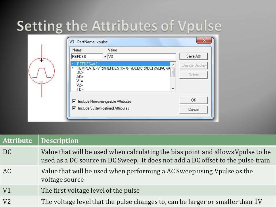 AttributeDescription DCValue that will be used when calculating the bias point and allows Vpulse to be used as a DC source in DC Sweep.