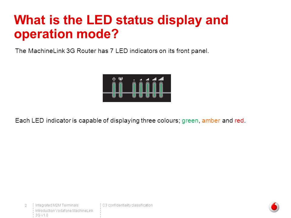 C3 confidentiality classificationIntegrated M2M Terminals Introduction Vodafone MachineLink 3G v1.0 2 What is the LED status display and operation mode.